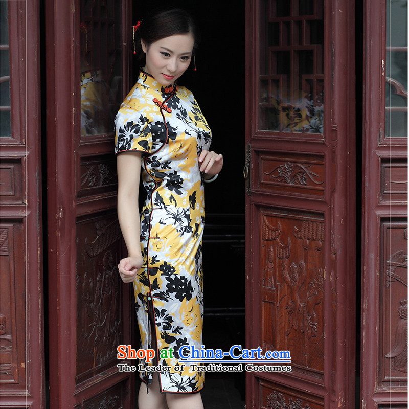The Wu female red?2015 New Silk Cheongsam dress summer binding system in Sau San Long Short-sleeved blouses and daily dresses?D spend long detained?XXL