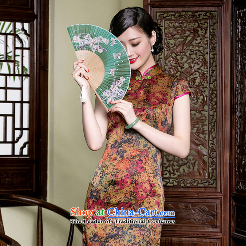 Seal of retro traditional, incense cloud yarn short of Qipao saika silk retro aristocratic improved Chinese dresses燲XXL color picture