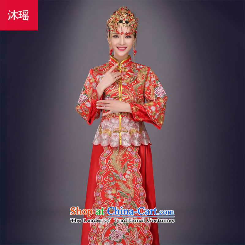 Bathing in the marriage solemnisation Sau Wo Yao Services 2015 new bride of Chinese dragon dress use red bows to Tang dynasty wedding gown marriage 2 piece autumn and winter larger embroidery on his breast red S breast 82CM