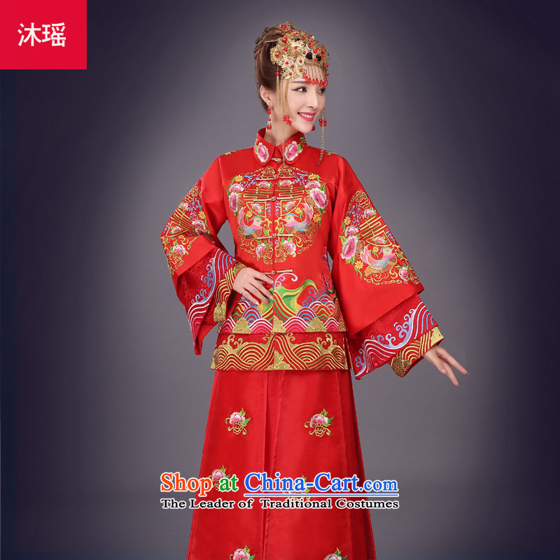Bathing in the爊ew 2015 Yiu Sau Wo Service marriage solemnisation autumn and winter Chinese dragon use red dress bride bows Tang Dynasty to the wedding dress marriage 2 piece-soo and larger female RED燤燾hest 94CM