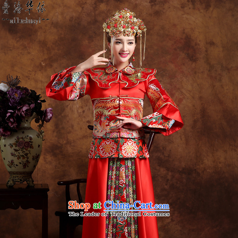 The new bride-soo 2015 Wo Service larger toasting champagne Chinese antique dresses Soo Kimono clothes gets married and the dragon and the use of the southern service yi pregnant women dress cheongsam dress high-end red clothes Head Ornaments XXXL +