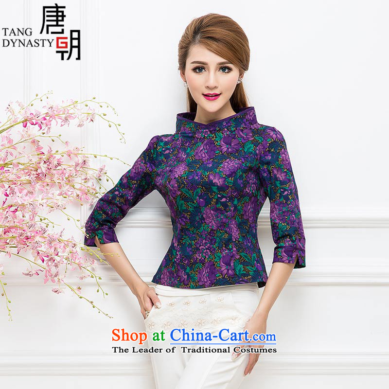 The Tang dynasty 2015 Autumn new improvements of CHINESE CHEONGSAM shirt daily Sau San 7 Cuff Tang dynasty women TQA42280 black purple the Kim?L