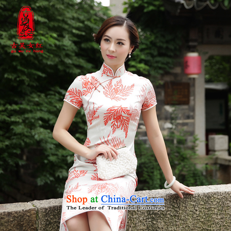 The Wu female red?2015 new heavyweight silk cheongsam dress in the summer of women's daily Sau San dresses?B_ collar?XL