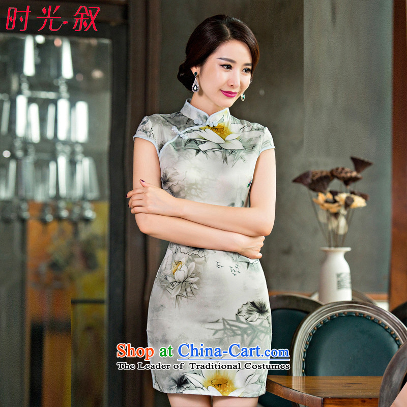 Time the?new 2015 Syria qipao retro improved daily cheongsam dress video thin sexy beauty spring and summer load short?M
