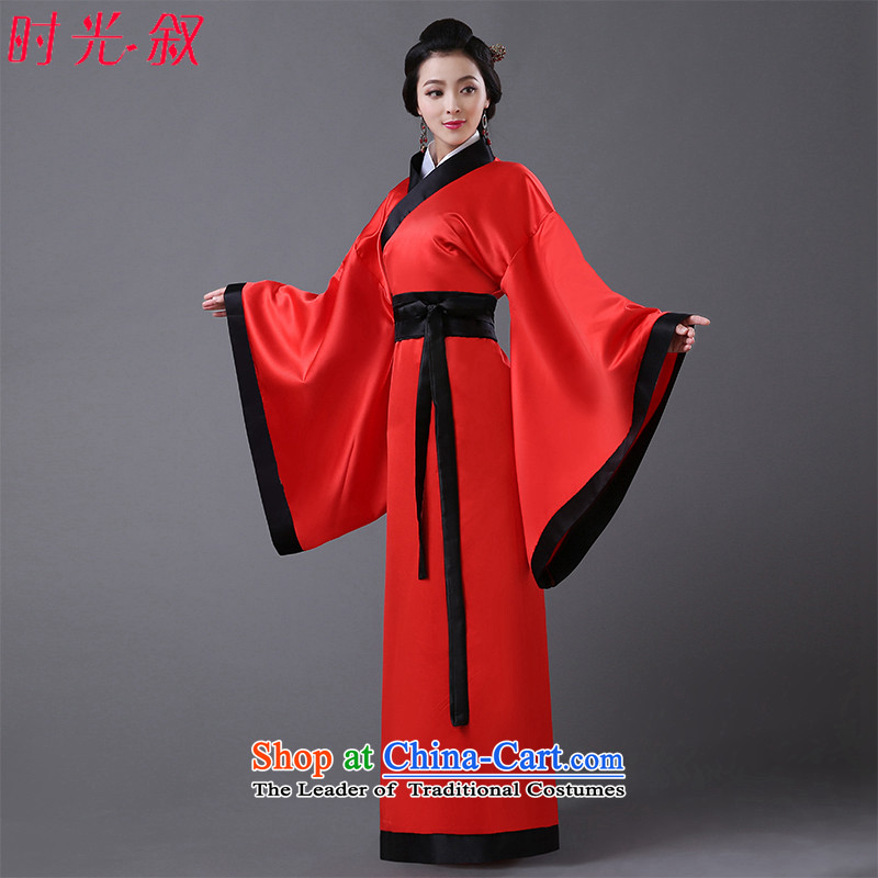 Time Syrian Tang dynasty costume improved authentic Han-Chinese style wedding marriage solemnisation red brides who marry Yi Qu civil photo building theme photo album Han-dress clothes skirt fairies Princess floor red code suitable for 160-175cm