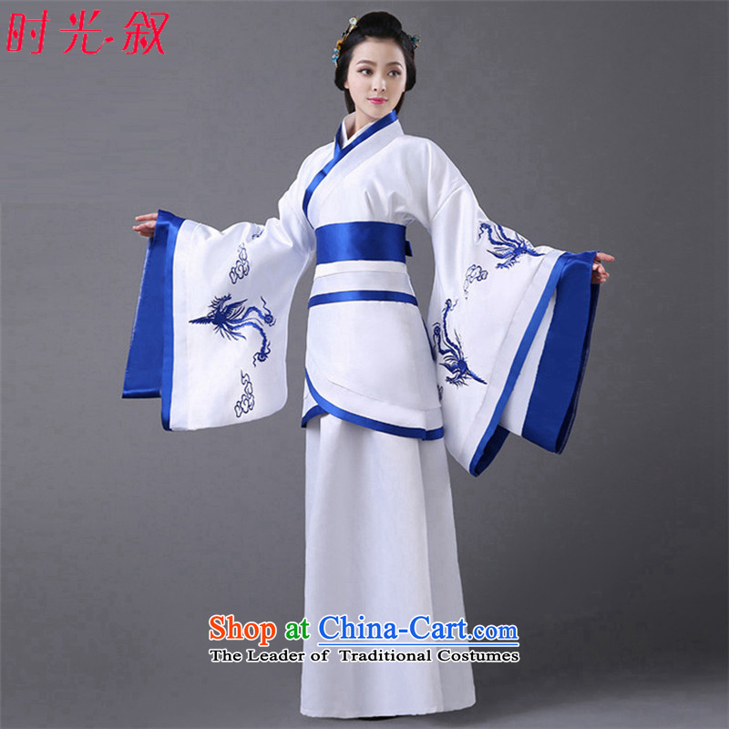 The Syrian women's ancient time clothing fairies skirt costume ancient Han-Han dynasty Royal Princess female clothes photo album embroidery Han-track civil administration improvement blue floor are suitable for 160-175cm code