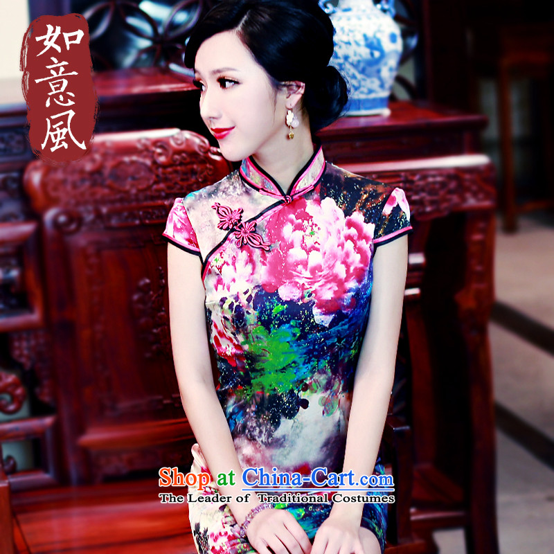 After a day of wind qipao 2015 Spring Silk Cheongsam summer short sauna silk cheongsam dress 5436 5436 suit燲XL