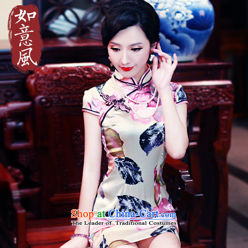 After a new wind 2015 Summer retro Sau San short-sleeved improved stylish herbs extract silk CHINESE CHEONGSAM 5435 5435 suit XXL