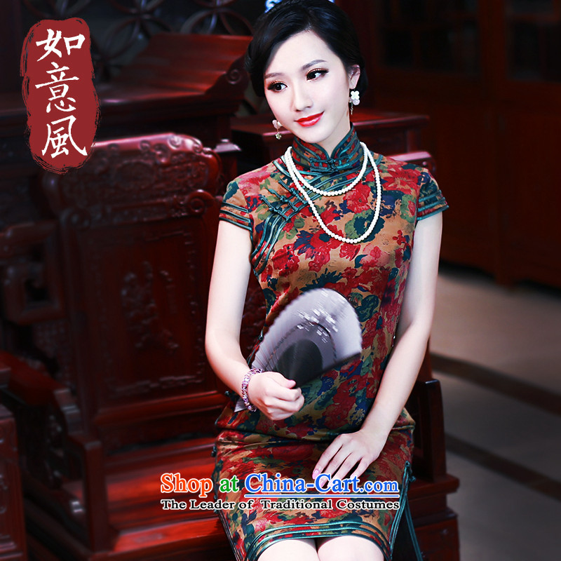 After a new 2015-silk yarn silk stylish cloud of incense summer short-sleeved qipao improved CHINESE CHEONGSAM 5447 5447 suit燲L