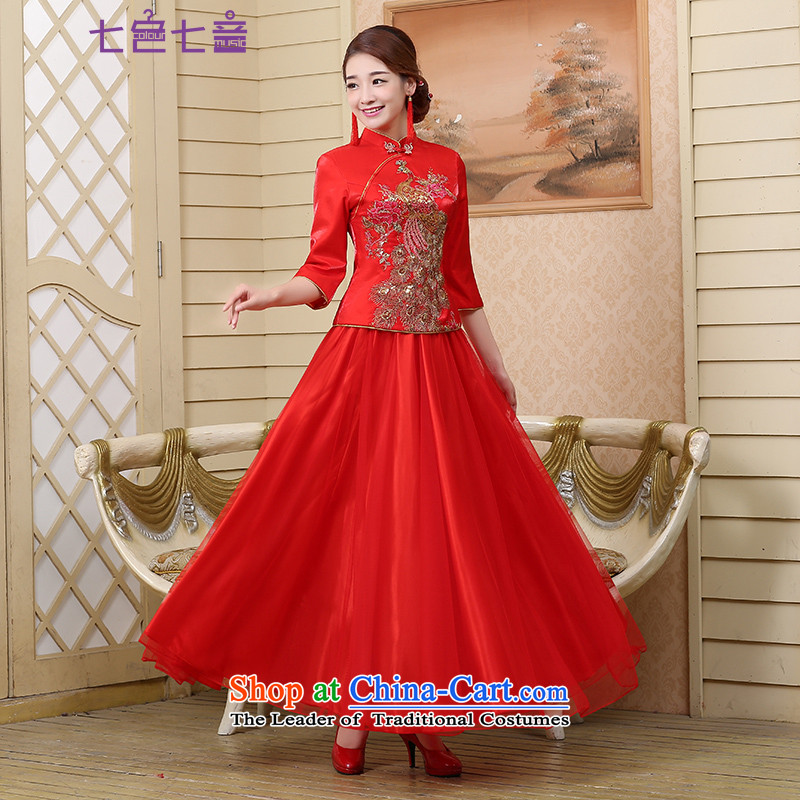 7 7 color tone new marriage bows Services Mr Ronald bride qipao short-sleeved Chinese style wedding dress female long improved services聽Q008 qipao Sau Wo聽RED聽M