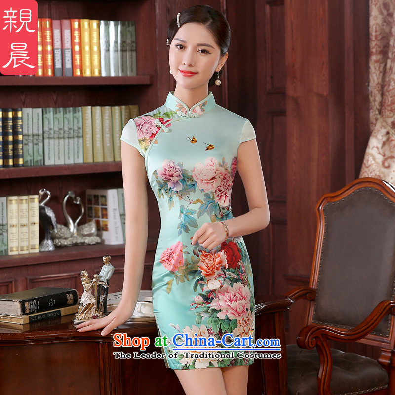 The pro-am cheongsam dress retro improved new autumn 2015 summer daily traditional stylish short of Sau San Sau San Green Mudan燣