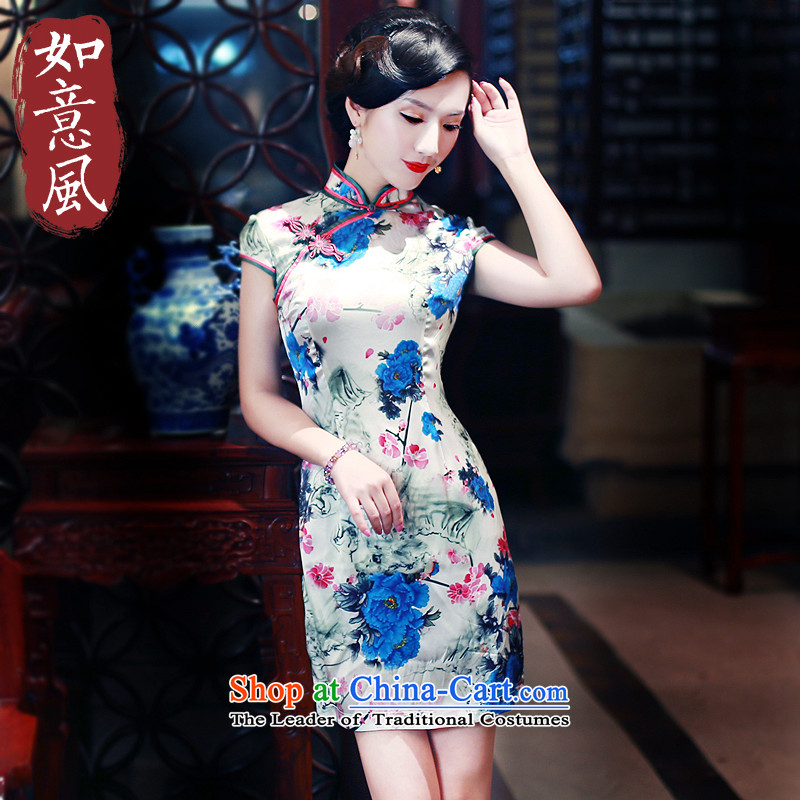 After a 2015 Summer wind new upscale heavyweight Silk Cheongsam herbs extract retro short skirt 5441 5441_ qipao suit燣