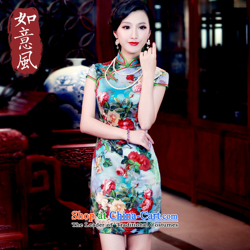 After a day of wind Silk Cheongsam spring and summer 2015 new stamp herbs extract retro elegant qipao 5440 5440 suit�L