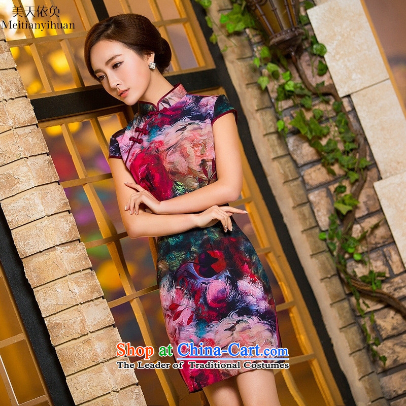 Summer 2015 New Silk short of retro Sau San dresses cheongsam dress show picture color聽M
