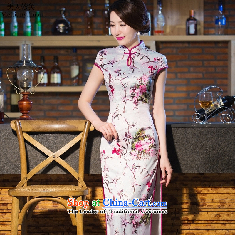 2015 Spring_Summer Load New Silk Cheongsam retro long silk dresses temperament dress clothes picture color燬