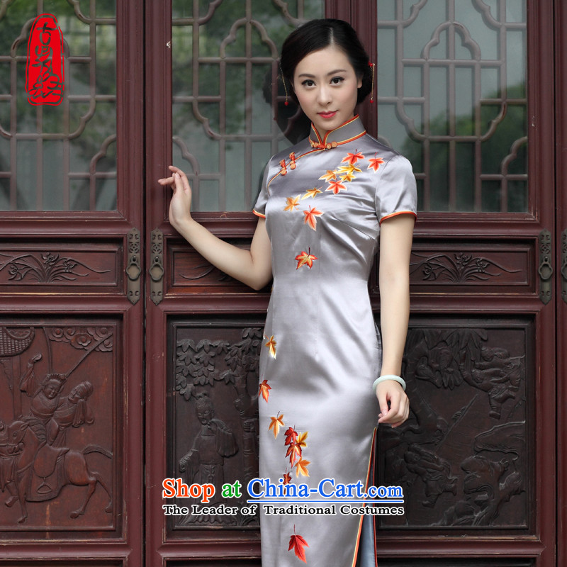 The Wu female red�15 Summer new hand embroidery cheongsam dress Foutune of type Long, banquet dress cheongsam dress Light Gray燣