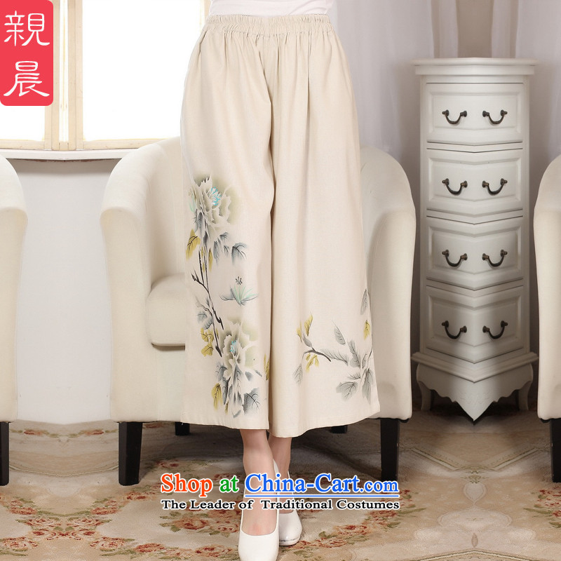 The pro-am new daily improved cotton linen retro arts loose national Bong-wide-legged pants 9 Skort trousers female pants wide-legged pants聽L