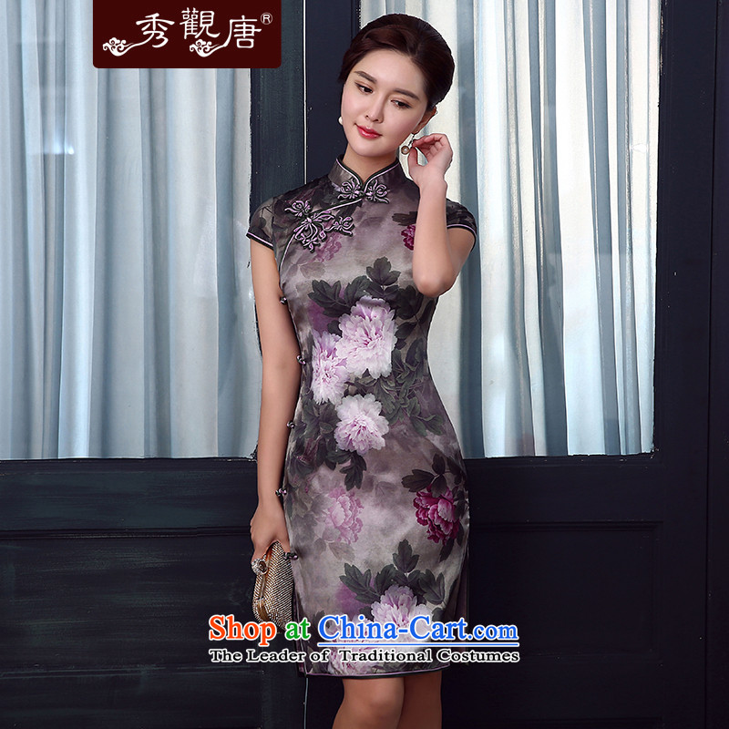 [Sau Kwun Tong] spend Selina Chow Silk Cheongsam upscale Summer 2015 New Silk Cheongsam dress dos Santos retro QD5335�XXXL Suit