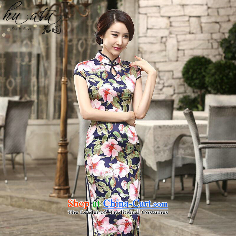 Take the new improved Ms. figure daily retro silk short-sleeved Sau San dinner long double cheongsam dress incense to� XL