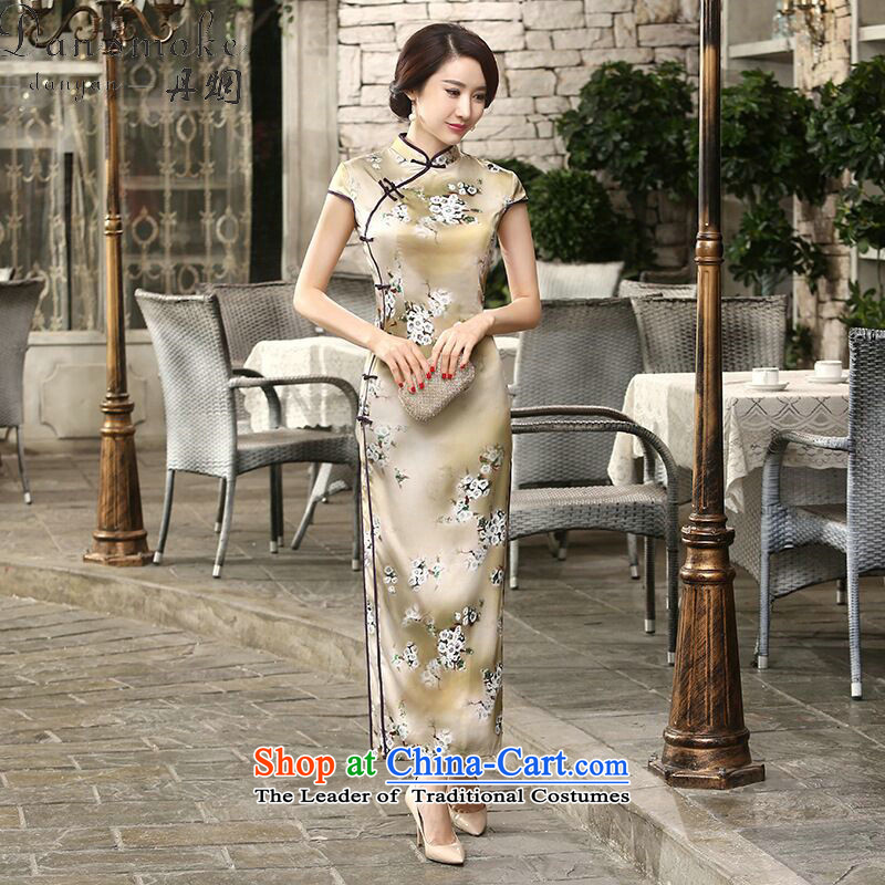 Dan breathing new of daily retro improved Chinese collar silk dresses tray clip Sau San long double qipao flower remain聽2XL