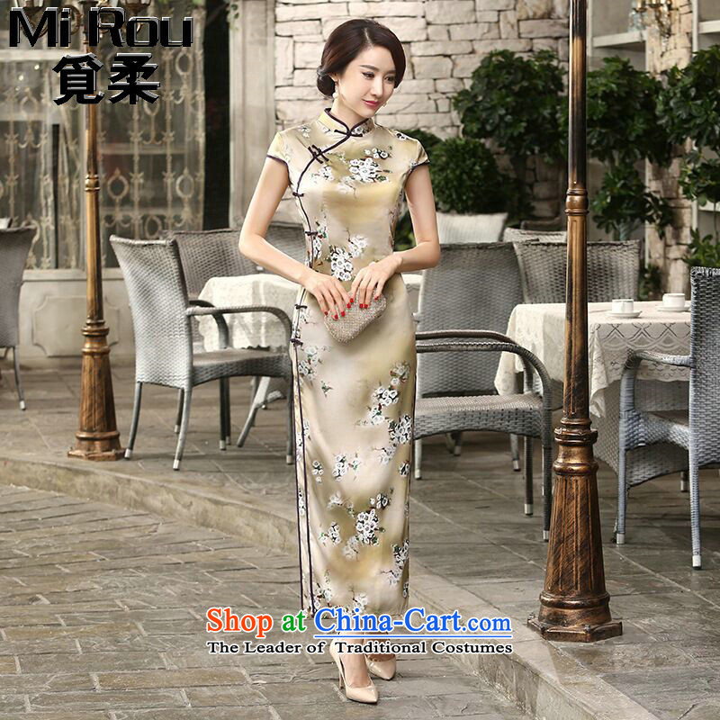 Find the new daily retro Sophie improved Chinese collar silk dresses tray clip Sau San long double qipao flower remain� L