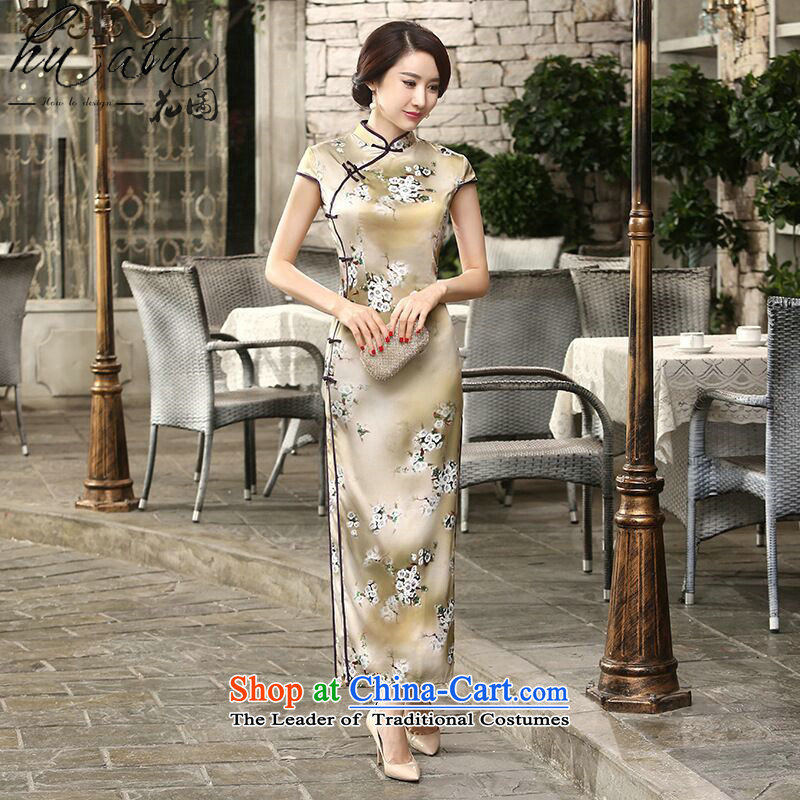 Take the new daily retro figure improved Chinese collar silk dresses tray clip Sau San long double qipao flower remain�2XL