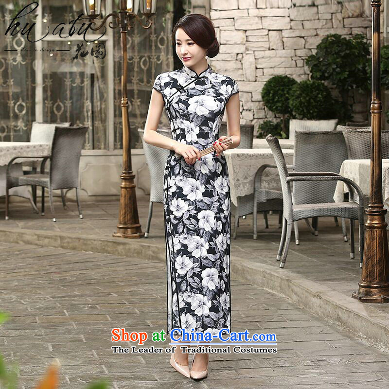 Floral CHINESE CHEONGSAM collar new daily retro silk dresses improved long-Sau San qipao cloud display�M