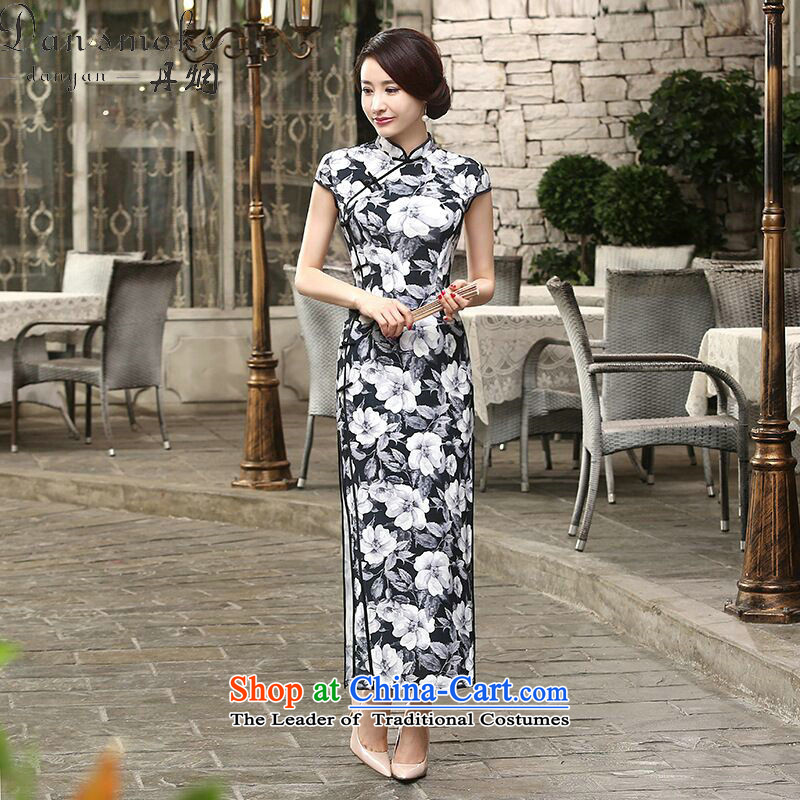 Dan smoke CHINESE CHEONGSAM collar new daily retro silk dresses improved long-Sau San qipao cloud display聽  XL