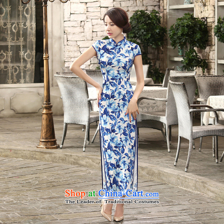 Dan breathing new for women Chinese daily retro porcelain silk dresses qipao gown length improved dinner as聽 XL Photo, prices, brand platters! The elections are supplied in the national character of distribution, so action, buy now enjoy more preferential! As soon as possible.