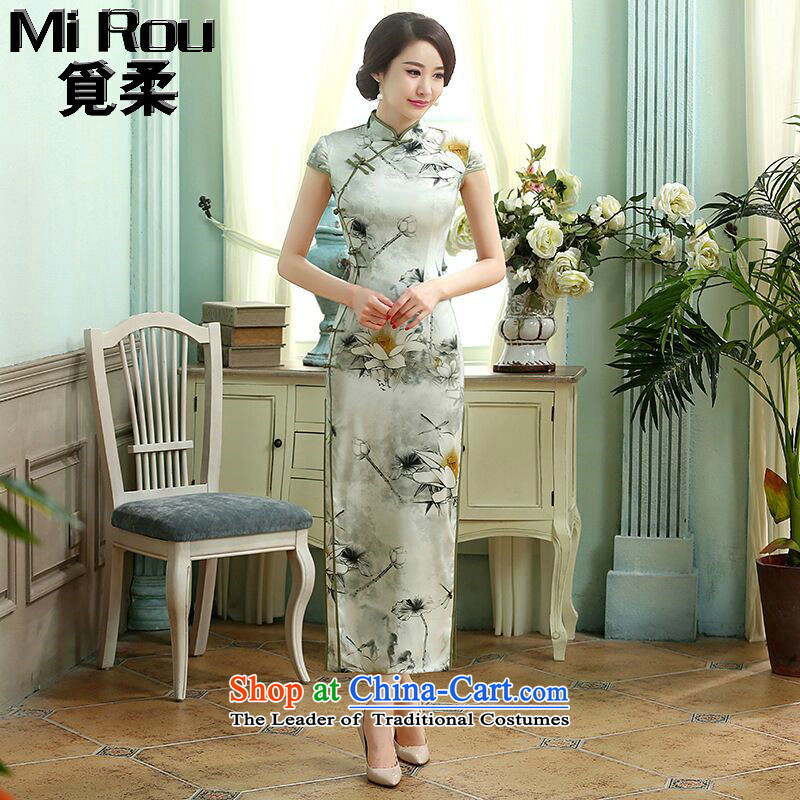 Find the new Chinese retro soft silk dresses manually clear the tie up Sau San improved double long I should be grateful if you would have the cheongsam, order uong� 2XL