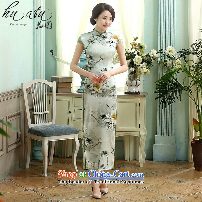 It New Chinese Antique Silk Dresses manually clear the tie up Sau San improved double long I should be grateful if you would have the cheongsam, order uong? XL