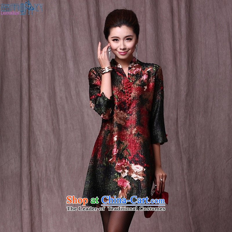 In the Tang dynasty continental older tray clip bleeding stamp silk drapes extracting dresses to intensify the red�XXXL