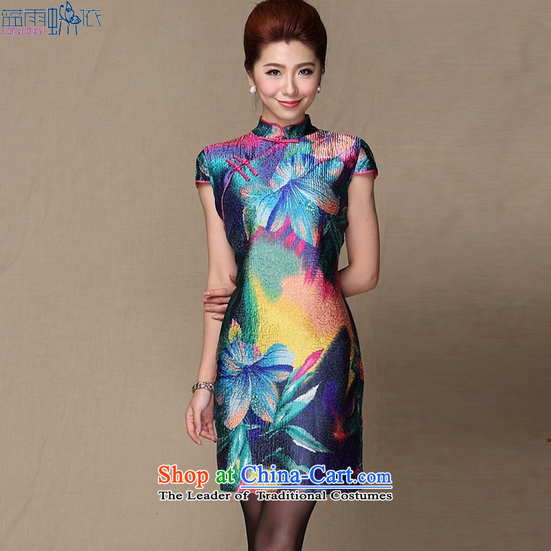 Tang Dynasty continental bleeding China wind silk cheongsam dress of nostalgia for the elderly in the Replace picture color mother�L
