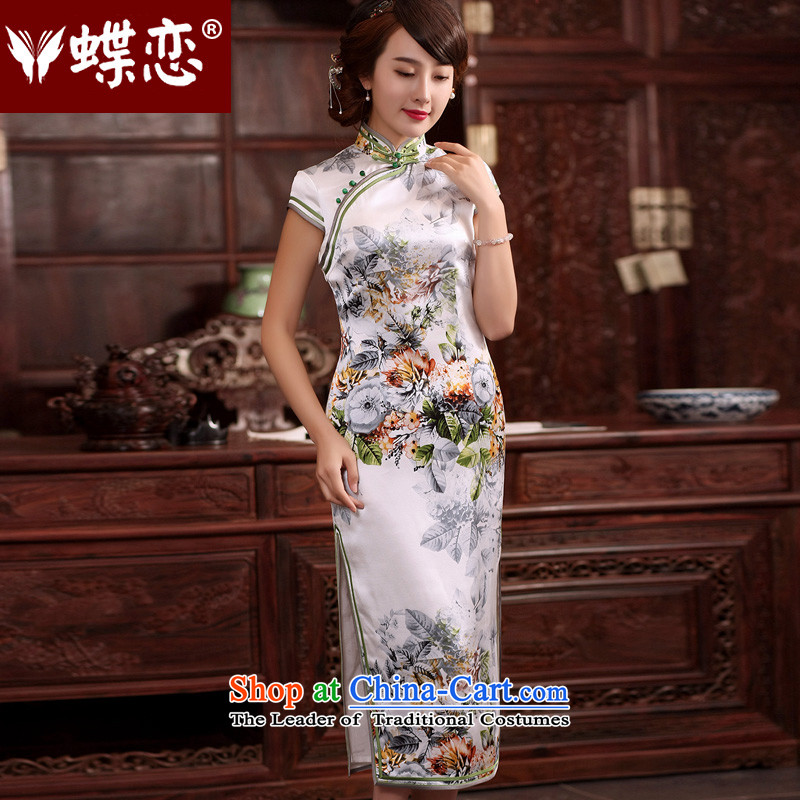 The Butterfly Lovers 2015 Summer new improved stylish long cheongsam dress Sau San retro daily Silk Cheongsam as shown Tang dynasty�M