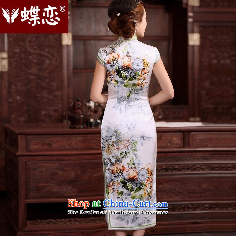 The Butterfly Lovers 2015 Summer new improved stylish long cheongsam dress Sau San retro daily Silk Cheongsam as shown Tang dynasty聽M Butterfly Lovers , , , shopping on the Internet