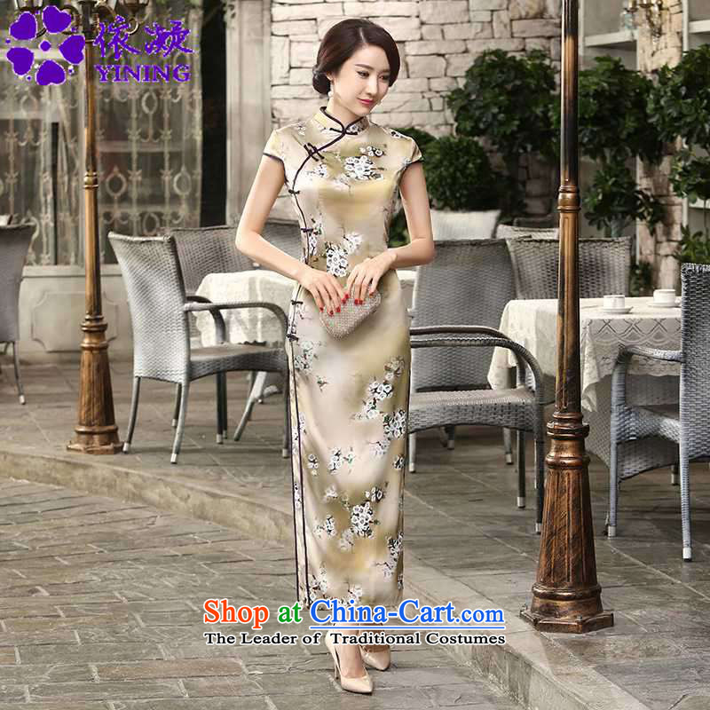 In accordance with the fuser summer trendy new of daily retro silk dresses short-sleeved long double TANG Sau San replacing cheongsam dress�Lgd/c0013# -A card whose�XL