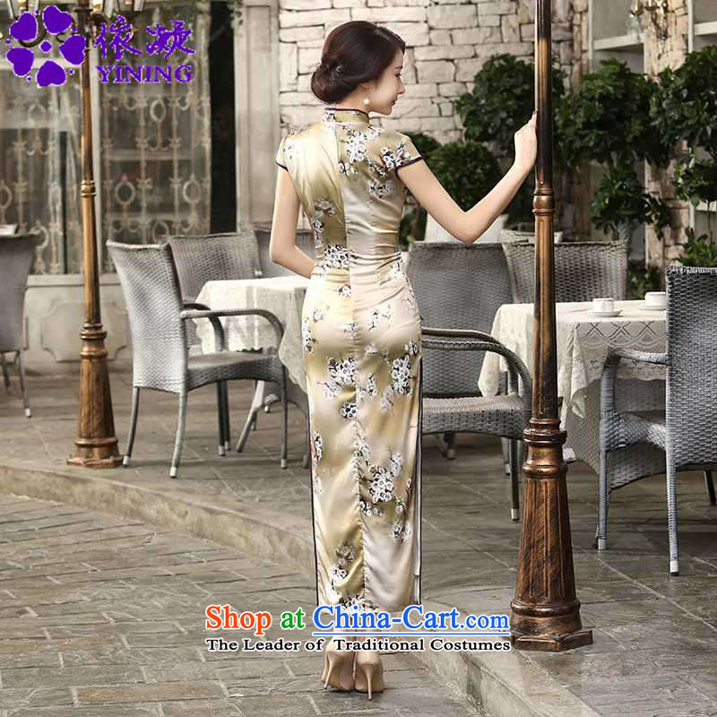 In accordance with the fuser summer trendy new of daily retro silk dresses short-sleeved long double TANG Sau San replacing cheongsam dress聽Lgd/c0013# -A card聽with its XL, fuser , , , shopping on the Internet