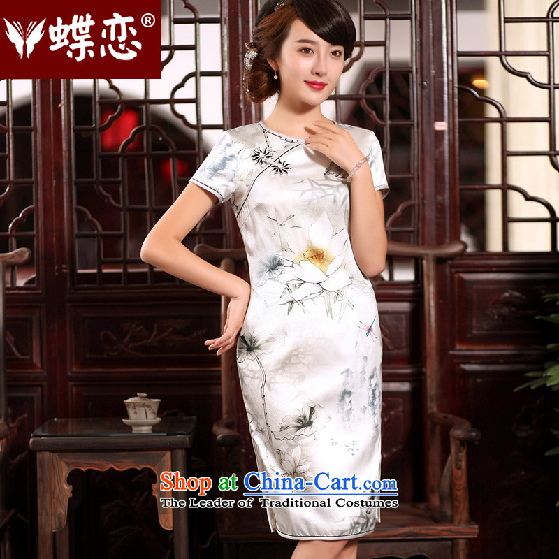 The Butterfly Lovers 2015 Summer New China wind stamp silk cheongsam dress retro improved round-neck collar qipao figure - 15 days pre-sale XL