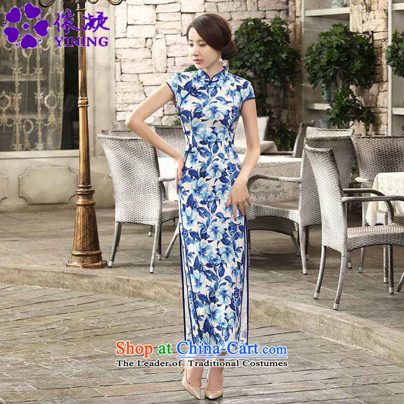 In accordance with the fuser retro improved trendy new for women is pressed to collar stamp Sau San Tong load long cheongsam dress�LGD/C0014#�BLUE�XL