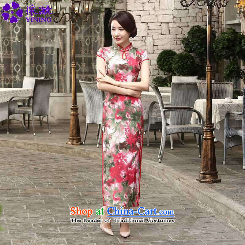 In accordance with the fuser trendy new of Chinese women into the territorial waters of the improved operational badges of stamp Sau San Tong loaded short-sleeved qipao skirt LGD_C0016_ figure M