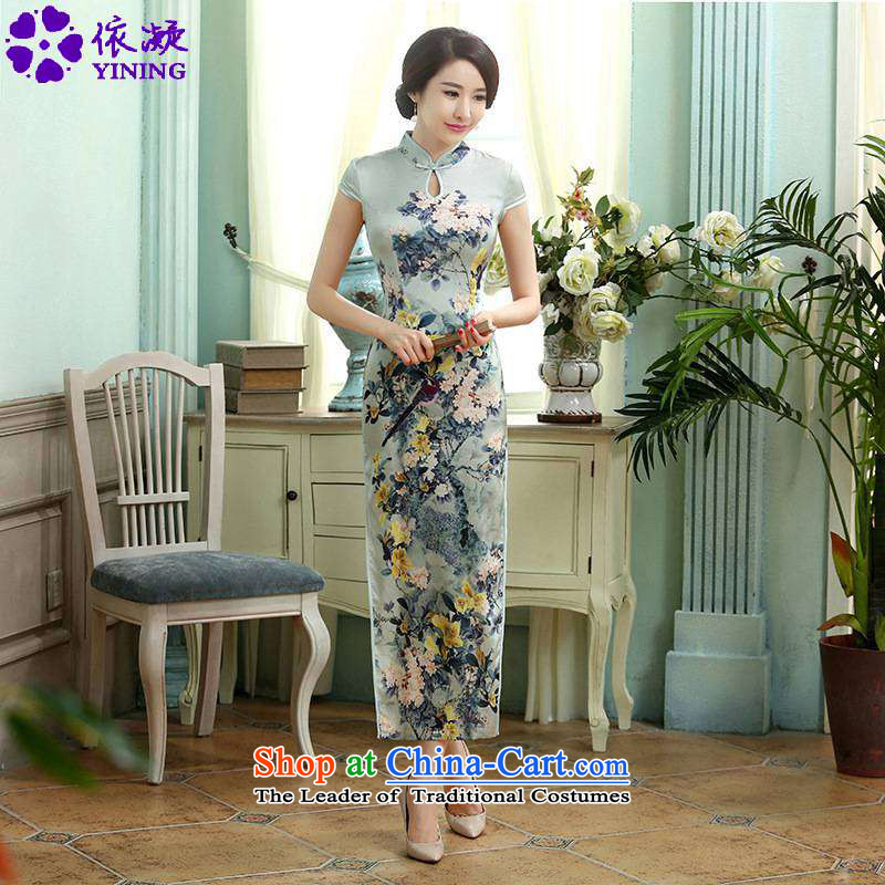 In accordance with the fuser trendy new for women daily retro silk dresses short-sleeved long double TANG Sau San replacing cheongsam dress�LGD/C0017#�figure�M