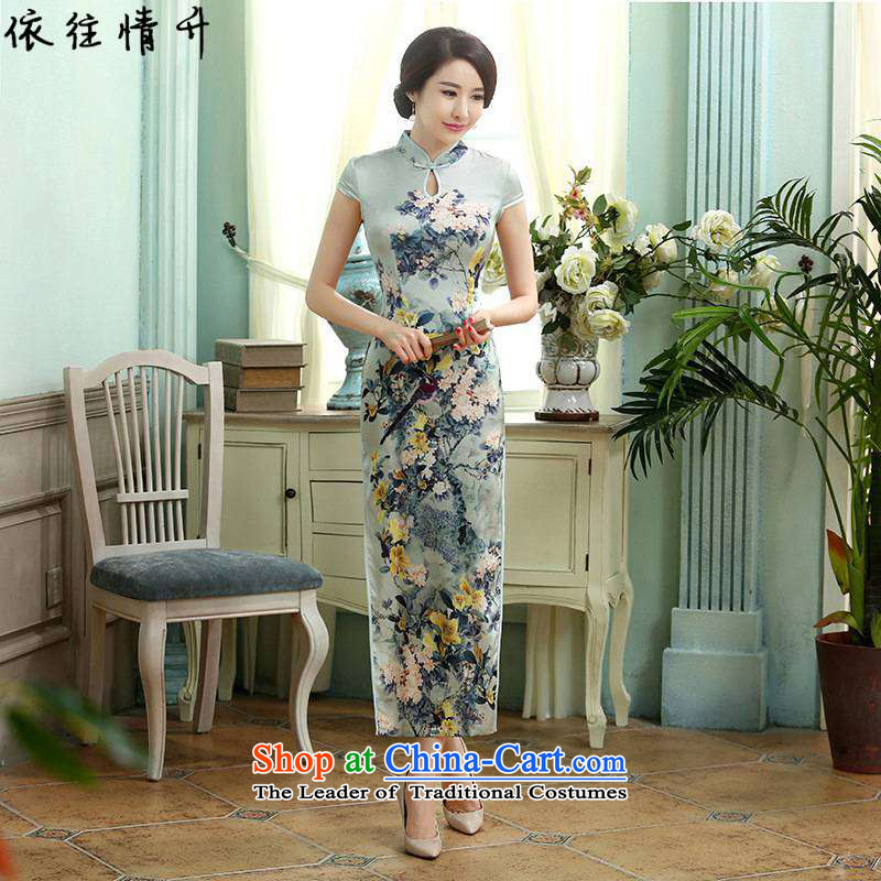 In accordance with the love in a trendy new for women Chinese Tang dynasty improved Mock-neck classical tray clip Sau San short-sleeved qipao skirt LGD_C0017_ figure L