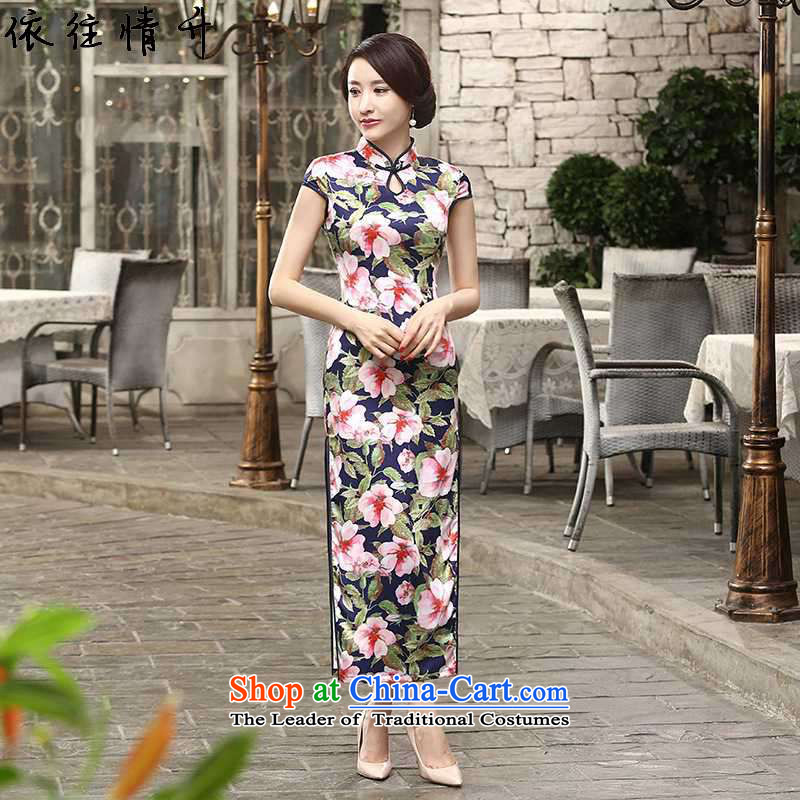 In accordance with the Love l summer trendy new for women Chinese improved double dresses collar classic Tray Tie long short-sleeved qipao�LGD/C0018#�figure�XL