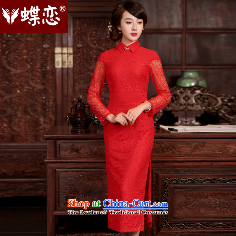 The Butterfly Lovers 2015 Summer new improved marriage cheongsam dress lace bridal dresses qipao serving drink red�S