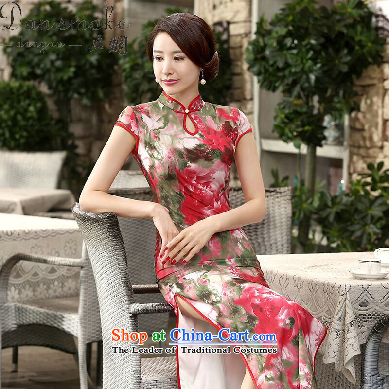Dan smoke new president frockcoat daily retro Chinese silk dresses improved long double qipao Sau San shakes Kuroki Hitomi XL