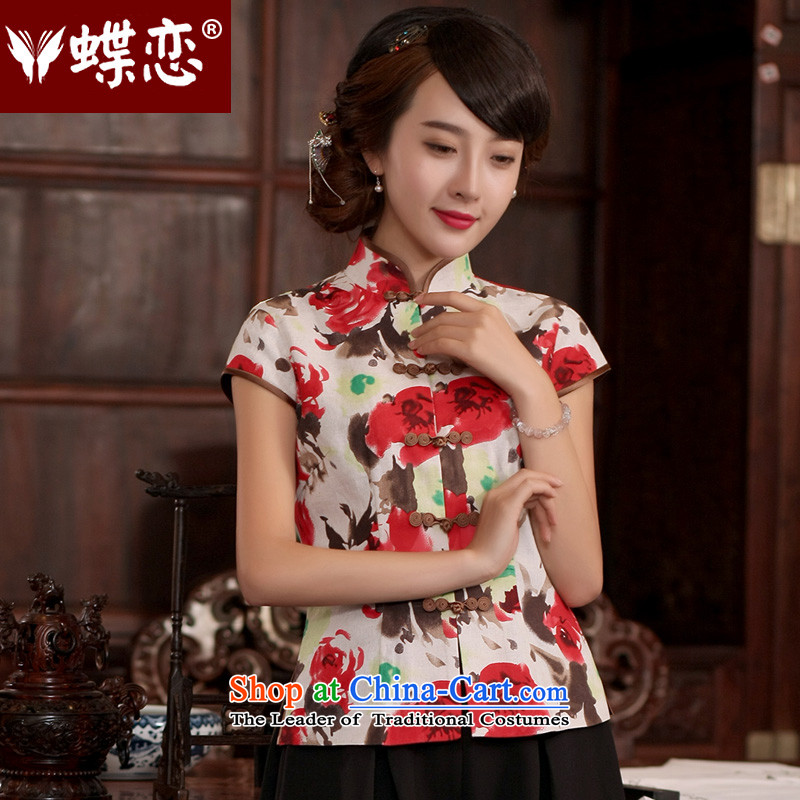 The Butterfly Lovers CHINESE CHEONGSAM shirt?2015 new retro style qipao improved women's summer cotton linen Tang dynasty figure?XXL