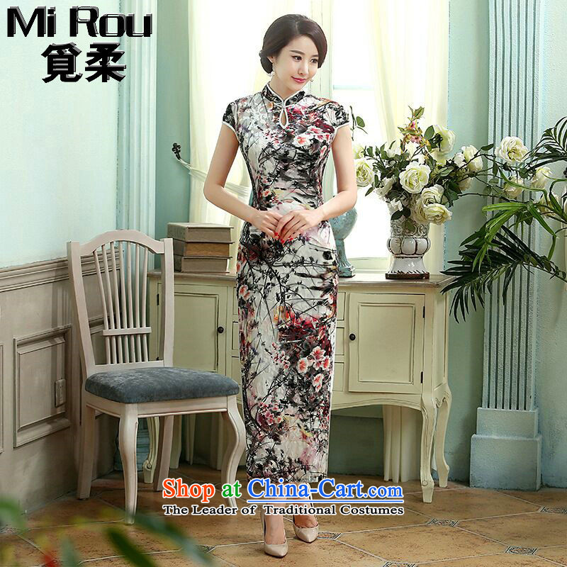 Find the new Chinese Long Sophie dress elegant and collar elastic really scouring pads improvement Sau San long qipao ling butterfly�M
