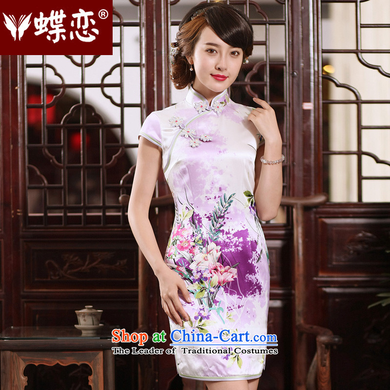 The Butterfly Lovers 2015 Summer new retro improved Silk Cheongsam, short skirt daily figure qipao Sau San - 15 days pre-sale L
