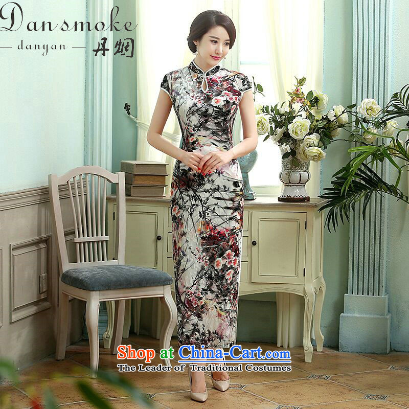Dan breathing new of Chinese gown elegance and a mock-neck stretch really scouring pads improvement Sau San long qipao ling butterfly聽 L