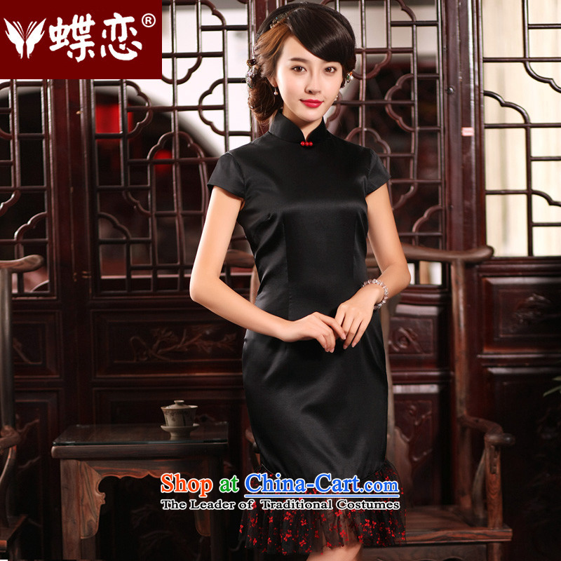 The Butterfly Lovers 2015 Summer new improved stylish stitching cheongsam dress package and Silk Dresses Sau San Black�XL